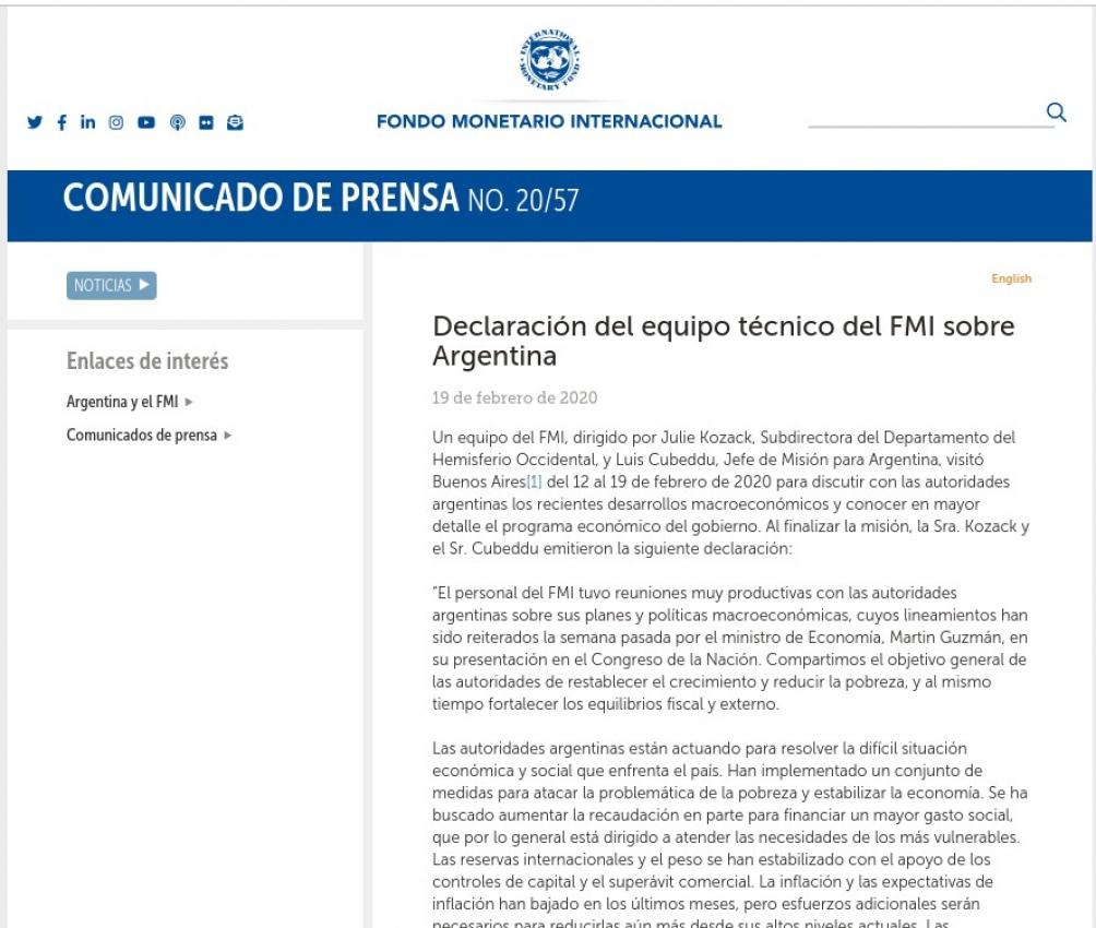 FMI comunicado